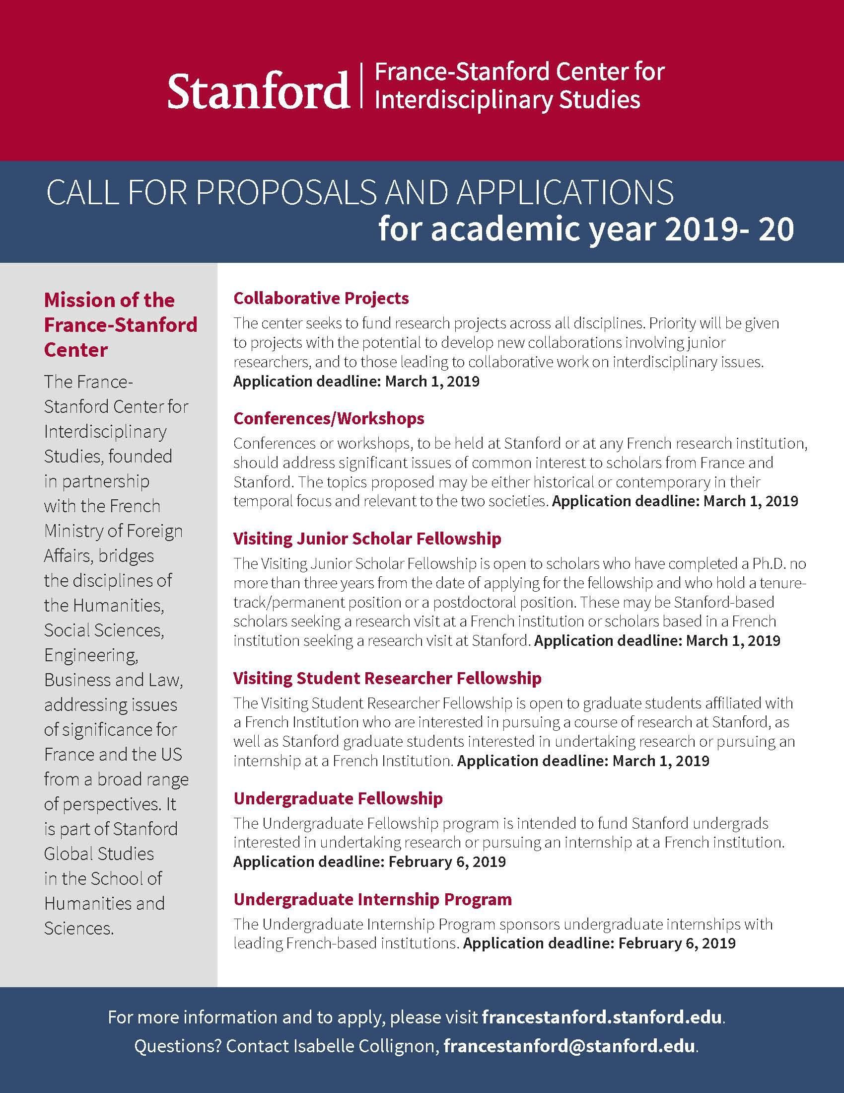 Call for proposals/applications for academic year 2019-20
